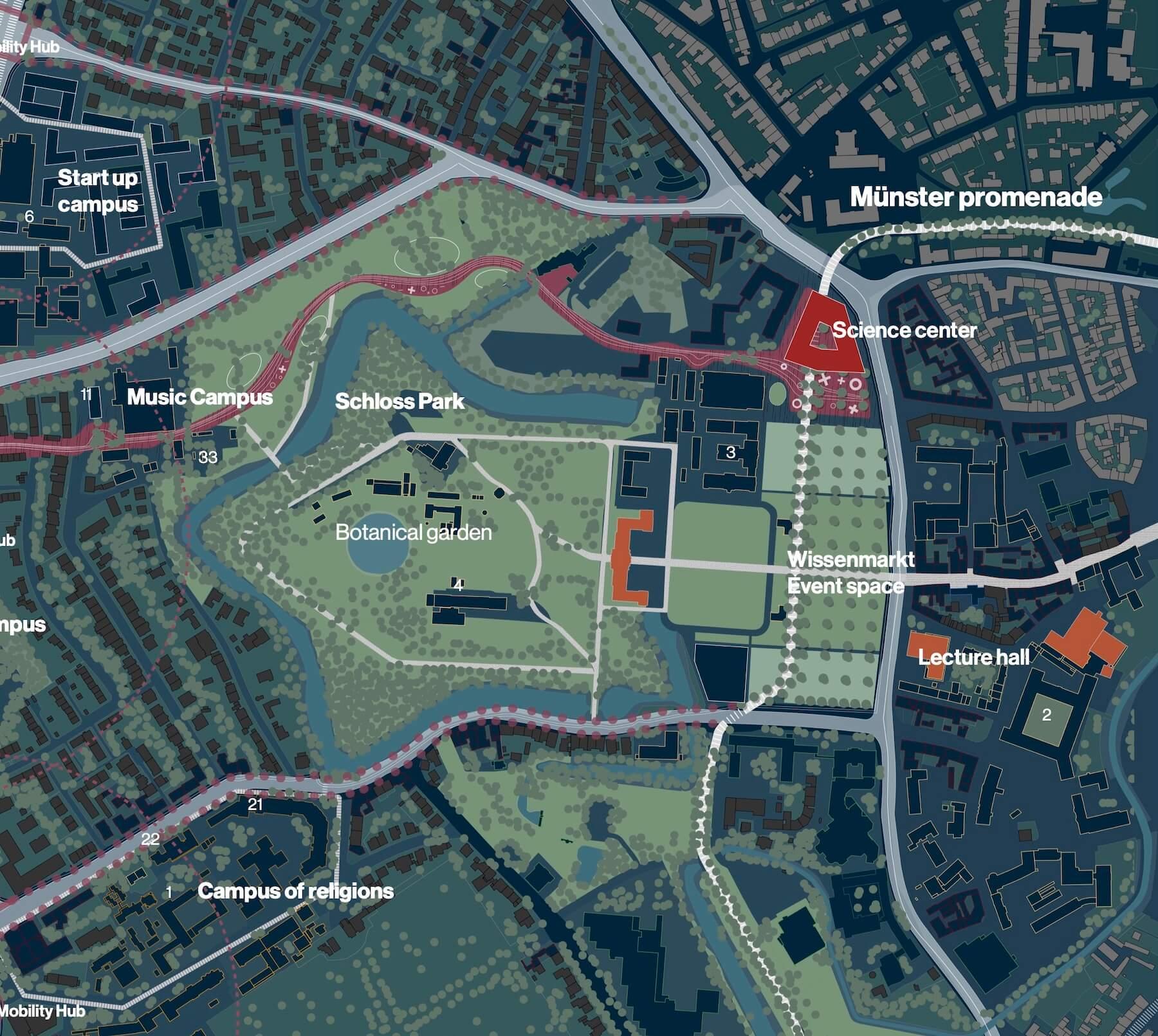 Schlossareal Münster – Entwurf: COBE – Quelle: Stadt Münster, Dezernat für Planung, Bau und Wirtschaft, Internationale Ideenwerkstatt Münster