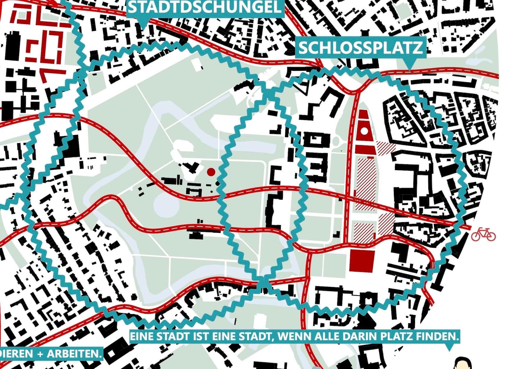 Schlossareal Münster – Entwurf: Lorenzen Mayer – Quelle: Stadt Münster, Dezernat für Planung, Bau und Wirtschaft, Internationale Ideenwerkstatt Münster