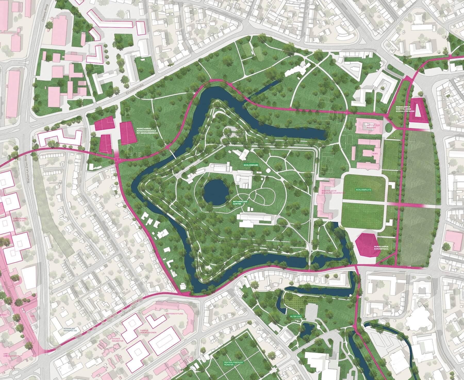 Schlossareal Münster – Entwurf: Urban Catalyst – Quelle: Stadt Münster, Dezernat für Planung, Bau und Wirtschaft, Internationale Ideenwerkstatt Münster